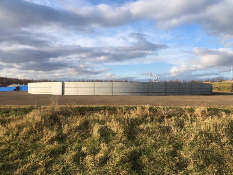 別海北部地区 根釧配2号用水路末端施設工事のうち配水調整槽PC側壁工事